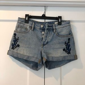 Pacsun Girlfriend Embroidered Jean Shorts